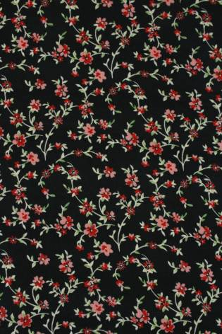 Dzianina jersey szczotkowany czerwone kwiatki 160 cm 170 g/m2 thumbnail
