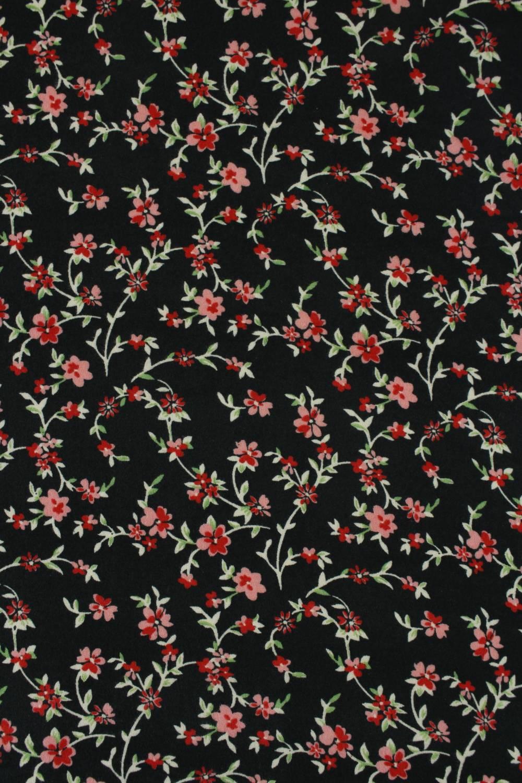 Dzianina jersey szczotkowany czerwone kwiatki 160 cm 170 g/m2
