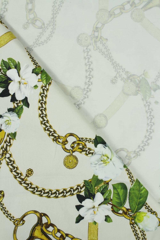 Tkanina popelina łańcuszki białe kwiatki 150 cm 200 g/m2