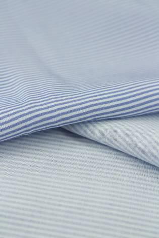 Tkanina wiskozowa w delikatne niebieskie paski 150 cm 120 g/m2 thumbnail
