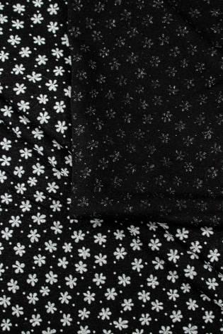 Dzianina jersey wiskozowy czarny w drobne kwiatki - 175cm 210g/m2 thumbnail
