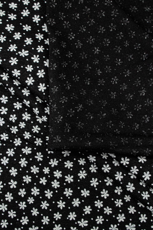Dzianina jersey wiskozowy czarny w drobne kwiatki - 175cm 210g/m2