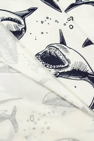 Dzianina jersey wiskozowy śmietankowa w rekiny - 170cm 240g/m2 thumbnail