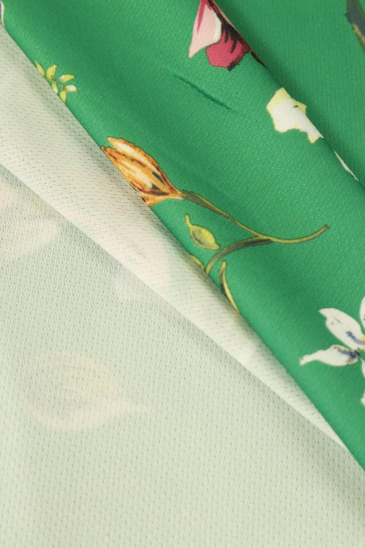 Dzianina sukienkowa zielona w kwiatki 150 cm 230 g/m2