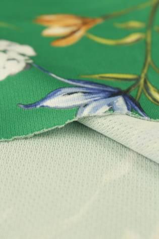 Dzianina sukienkowa zielona w kwiatki 150 cm 230 g/m2 thumbnail