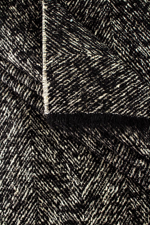 Tkanina wełniana płaszczowa - czarno-beżowa - 150cm 360g/m2