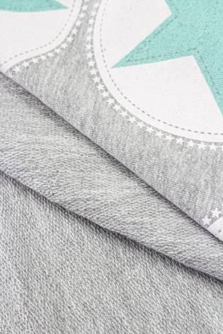 Dzianina dresowa pętelka szata w turkusowe gwiazdki - 160cm 300g/m2 thumbnail