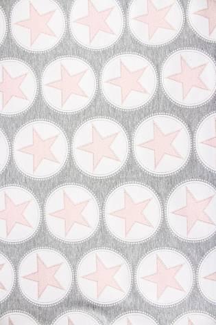 Dzianina dresowa pętelka szata w łososiowe gwiazdki - 160cm 300g/m2 thumbnail