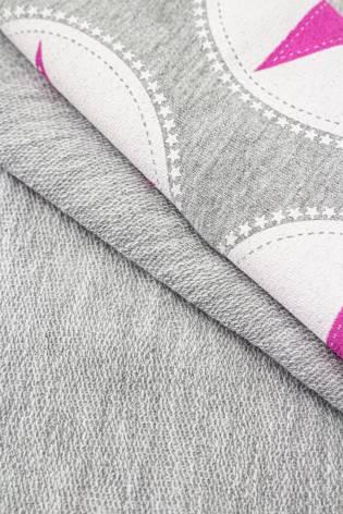 Dzianina dresowa pętelka szara w różowe gwiazdki - 160cm 300g/m2 thumbnail