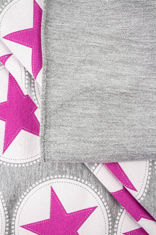 Dzianina dresowa pętelka szara w różowe gwiazdki - 160cm 300g/m2