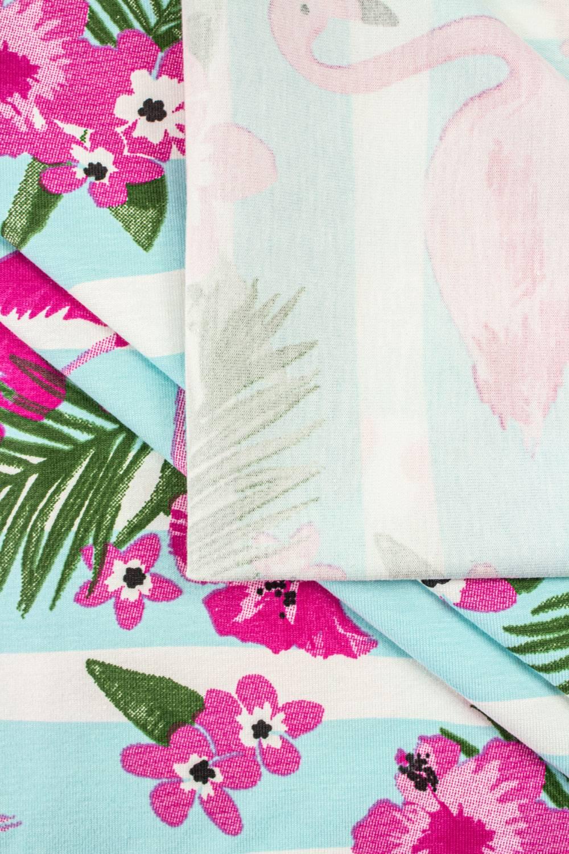 Jersey bawełniany flamingi/kwiatki - 170cm 180g/m2