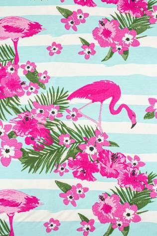 Jersey bawełniany flamingi/kwiatki - 170cm 180g/m2 thumbnail