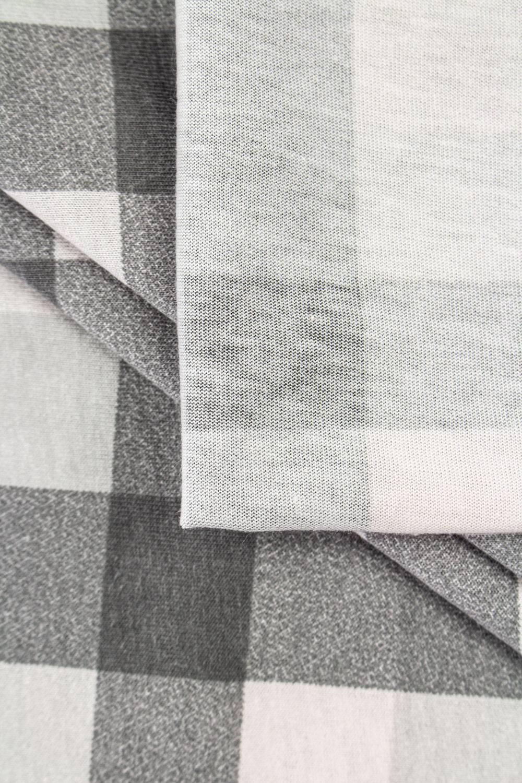 Dzianina jersey bawełniany w kratę - szary - 165cm 150g/m2