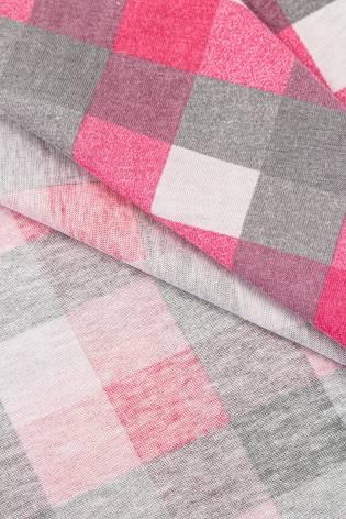 Dzianina jersey bawełniany w kratę - różowy - 165cm 150g/m2 thumbnail