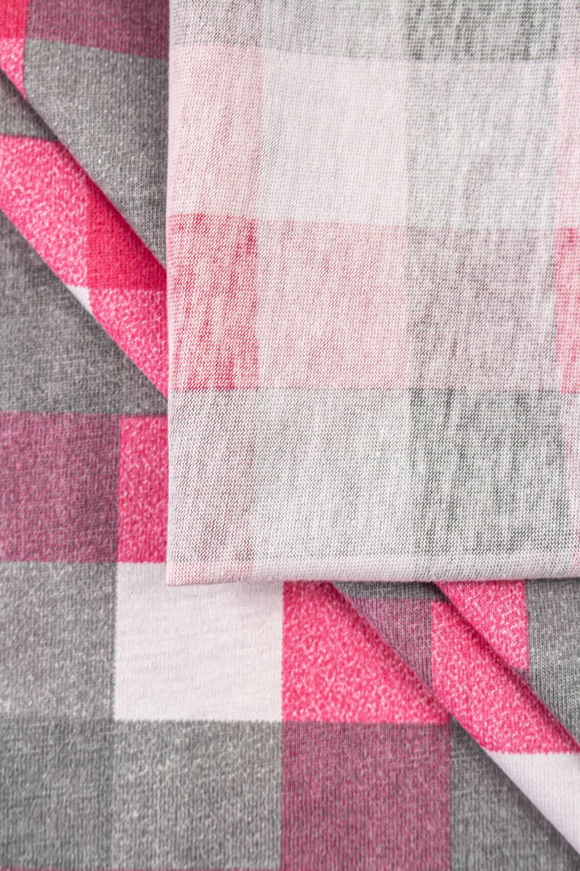 Dzianina jersey bawełniany w kratę - różowy - 165cm 150g/m2