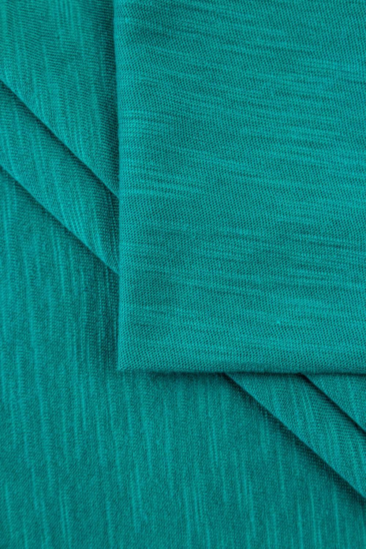 Dzianina jersey bawełniany melanż płomyk - turkus - 160cm 140g/m2
