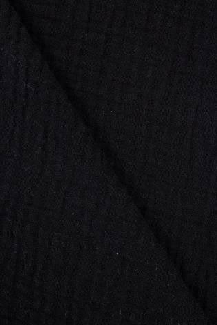 Tkanina muślin dwustronny - bawełniany - czarny - 145cm 230g/m2 thumbnail