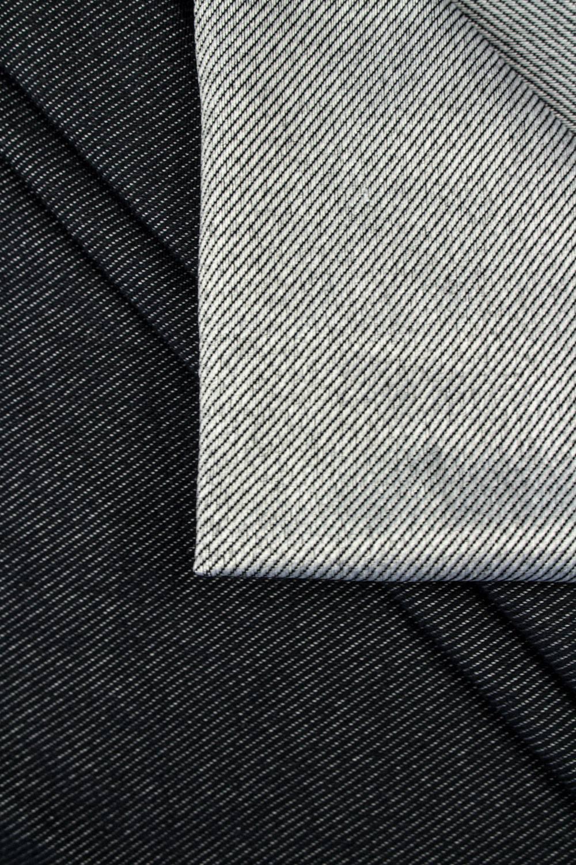 Dzianina dresówka cienka diagonalna - czarna - 155cm 300g/m2