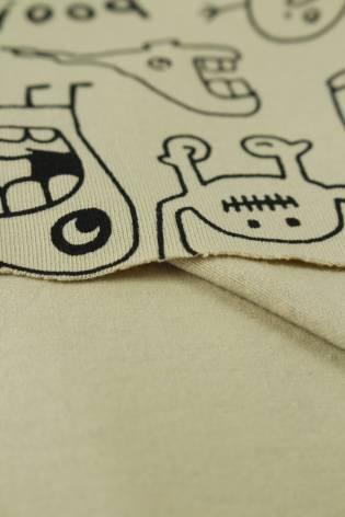 Jersey wzór dziecięcy stworki beżowy 155 cm 220 g/m2 thumbnail