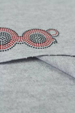 Jersey bawełniany szminka usta szary melanż 175 cm 200 g/m2 thumbnail