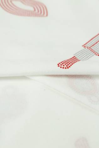 Jersey bawełniany szminka usta biały 175 cm 200 g/m2 thumbnail