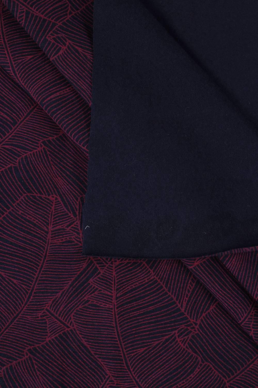 Jersey bawełna/elastan granatowy w różowe liście 170 cm 180 g/m2