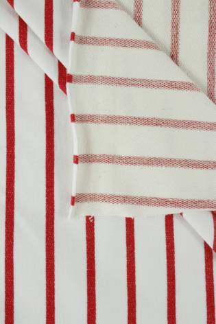 Dresówka pętelka biała w czerwone paski 180 cm 240 g/m2 thumbnail