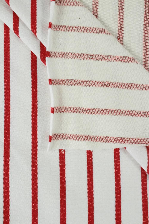 Dresówka pętelka biała w czerwone paski 180 cm 240 g/m2