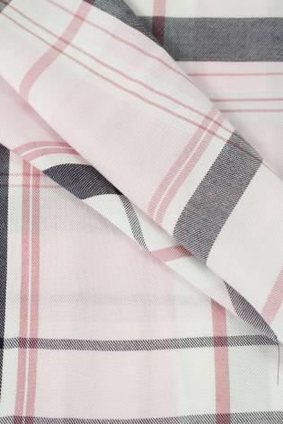 Tkanina wiskozowa różowa w kratkę 150 cm 155 g/m2 thumbnail