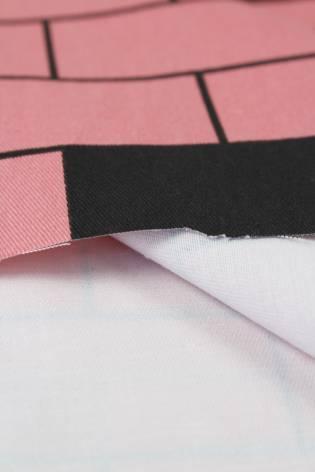 Tkanina drelich różowa w cegiełki 150 cm 260 g/m2 thumbnail