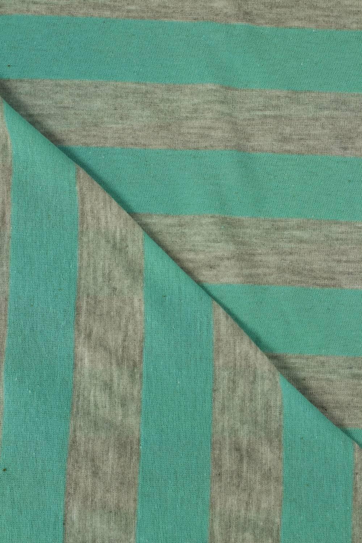 Dzianina jersey bawełniany w paski turkusowy 150 cm 120 g/m2