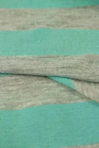 Dzianina jersey bawełniany w paski turkusowy 150 cm 120 g/m2 thumbnail