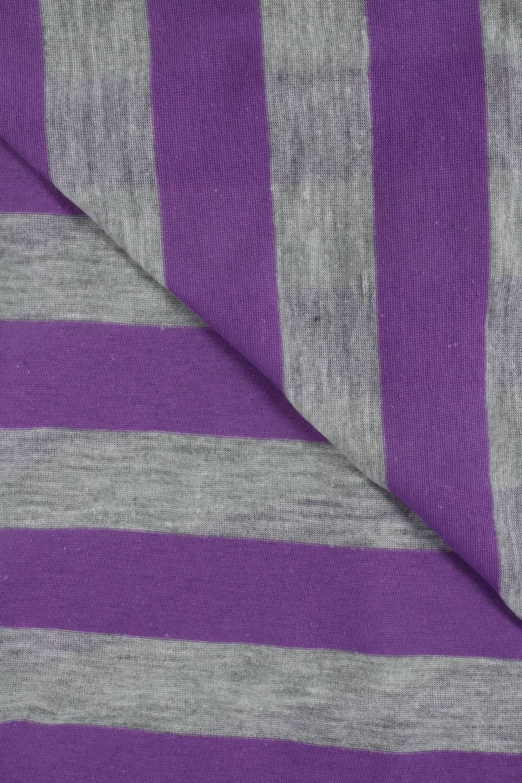 Dzianina jersey bawełniany w paski fioletowy 150 cm 120 g/m2