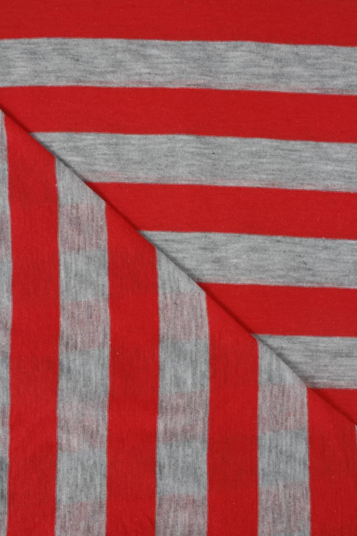 Dzianina jersey bawełniany w paski czerwony 150 cm 120 g/m2