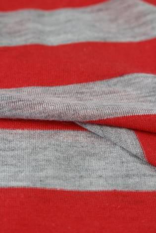 Dzianina jersey bawełniany w paski czerwony 150 cm 120 g/m2 thumbnail