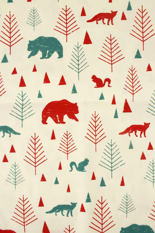 Tkanina bawełniana śmietankowa las zwierzęta 160 cm 200 g/m2