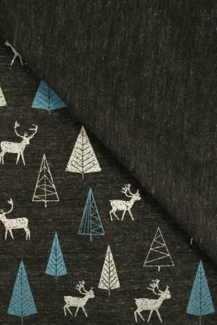 Dzianina dresówka pętelka melanżowa choinki jelenie grafitowa 160 cm 260 g/m2 thumbnail
