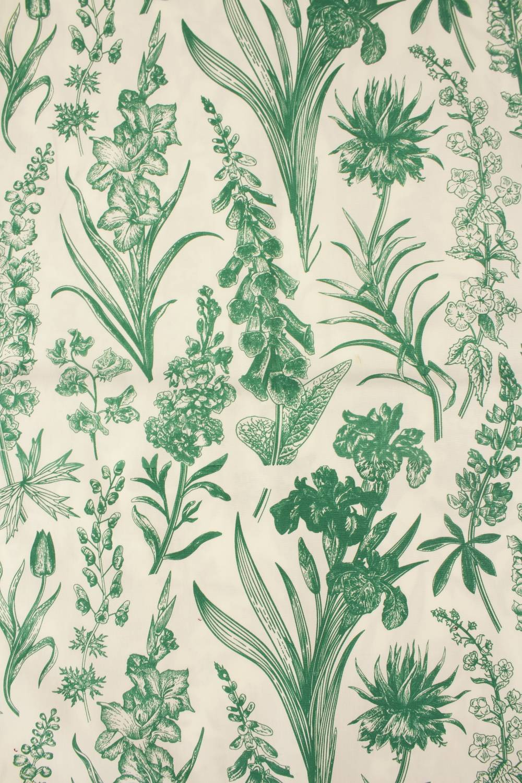 Tkanina bawełniana śmietankowa botaniczne kwiaty 155 cm 120 g/m2