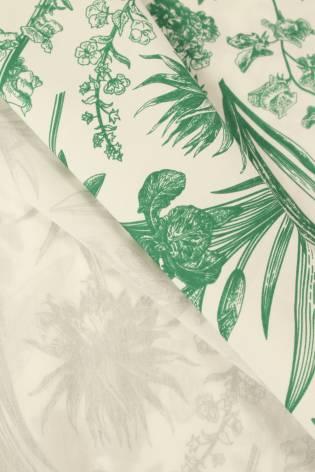 Tkanina bawełniana śmietankowa botaniczne kwiaty 155 cm 120 g/m2 thumbnail