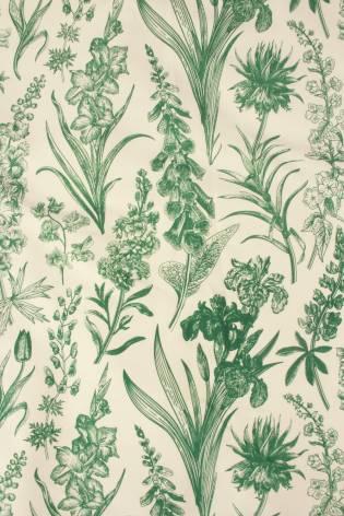 Dzianina dresówka pętelka śmietankowa w zielone botaniczne kwiaty 155 cm 230 g/m2 thumbnail