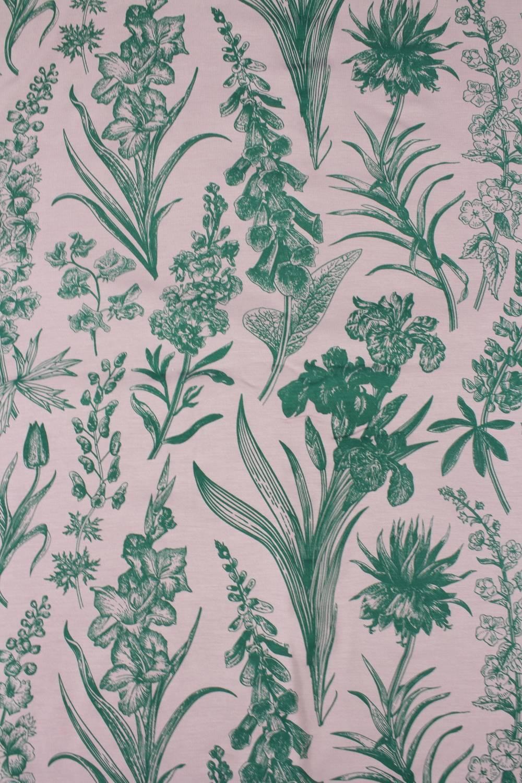 Dzianina jersey wiskozowy botaniczny kwiaty różowo zielony 160 cm 150 g/m2