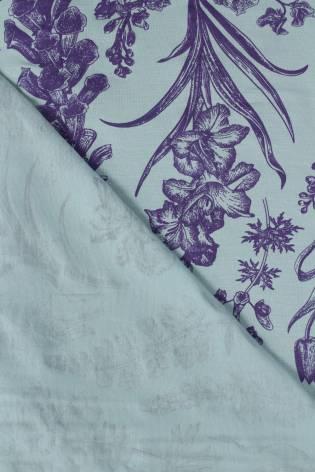 Dzianina jersey wiskozowy botaniczny kwiaty miętowo fioletowy 160 cm 150 g/m2 thumbnail