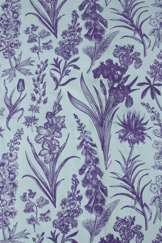 Dzianina jersey wiskozowy botaniczny kwiaty miętowo fioletowy 160 cm 150 g/m2