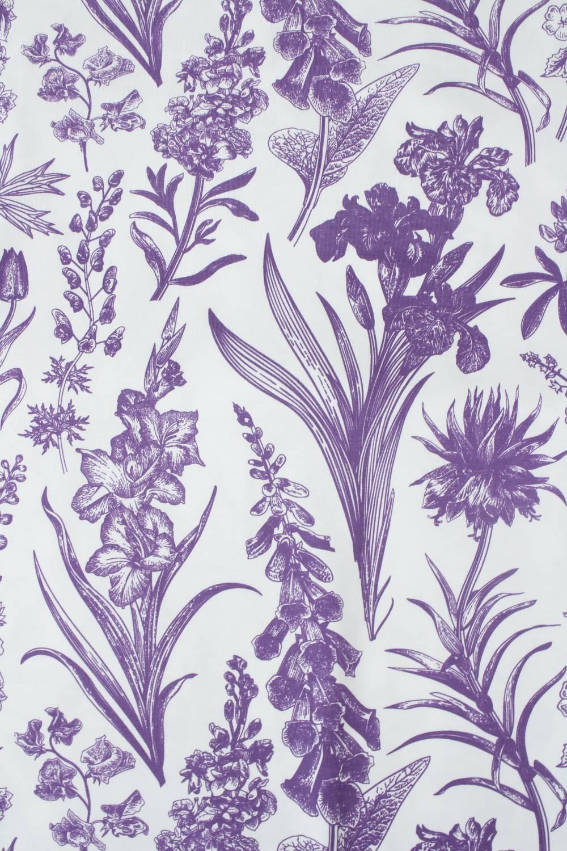 Dzianina jersey bawełniany botaniczny kwiaty biało fioletowy 160 cm 150 g/m2