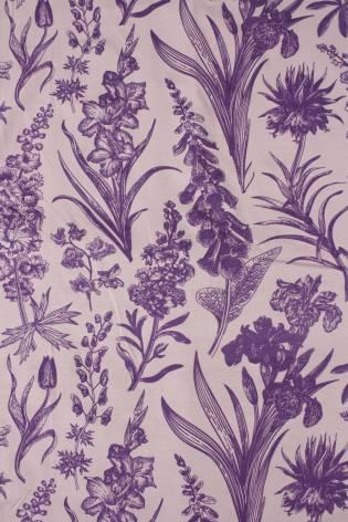 Dzianina jersey wiskozowy botaniczny kwiaty różowo fioletowe 160 cm 150 g/m2 thumbnail