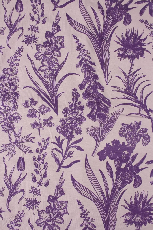 Dzianina jersey wiskozowy botaniczny kwiaty różowo fioletowe 160 cm 150 g/m2