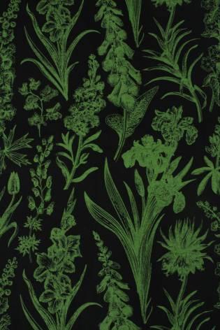Dzianina jersey bawełniany botaniczny kwiaty czarno zielony 160 cm 150 g/m2 thumbnail