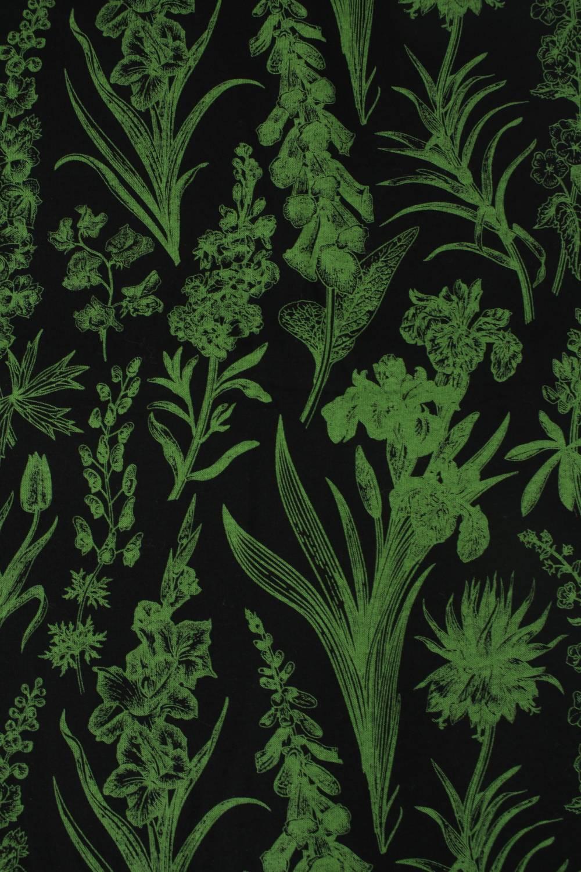 Dzianina jersey bawełniany botaniczny kwiaty czarno zielony 160 cm 150 g/m2