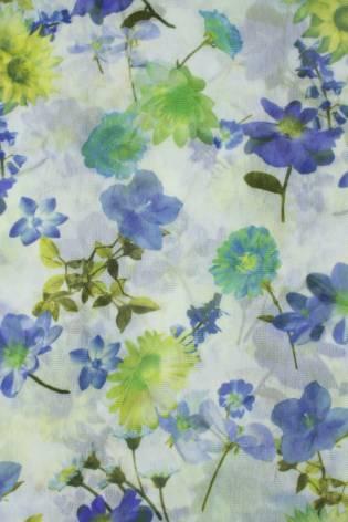 Tkanina tiul miękki śmietankowy w kolorowe kwiaty 140 cm 70 g/m2 thumbnail