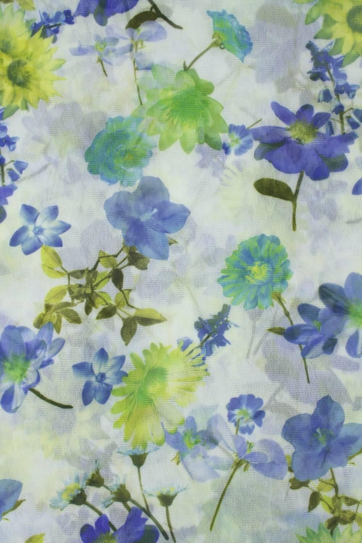 Tkanina tiul miękki śmietankowy w kolorowe kwiaty 140 cm 70 g/m2